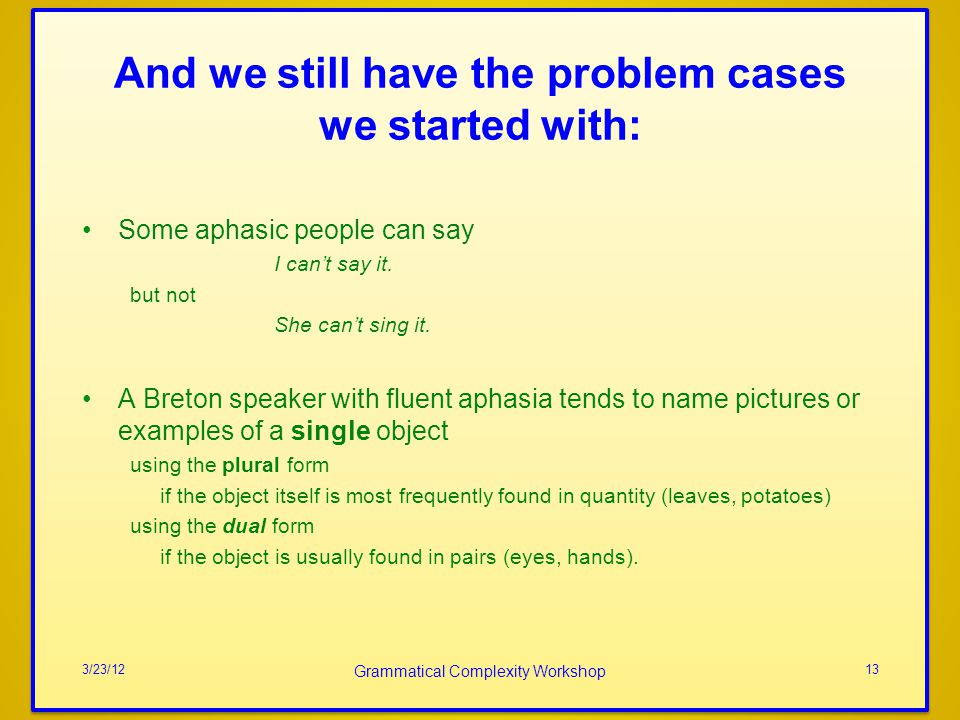 And we still have the problem cases we started with: