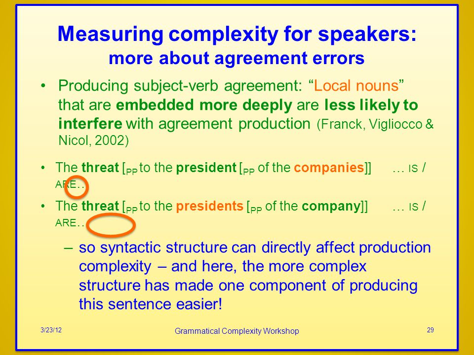 Measuring complexity for speakers: more about agreement errors