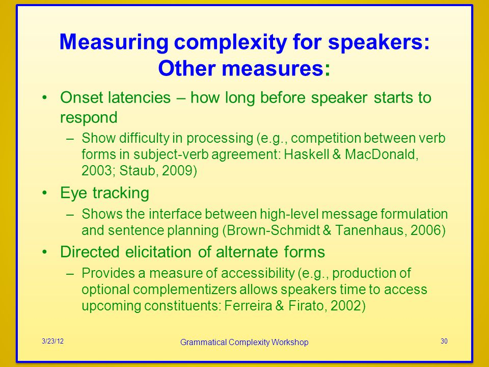 Measuring complexity for speakers: Other measures: