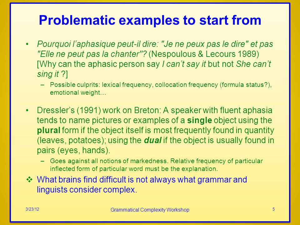 Problematic examples to start from