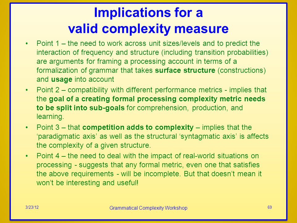 Implications for a valid complexity measure