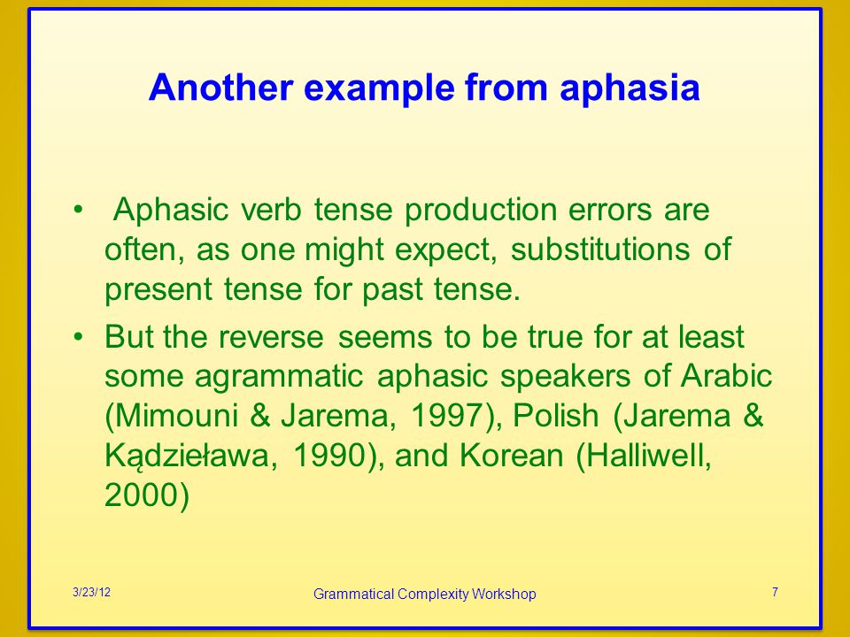 Another example from aphasia