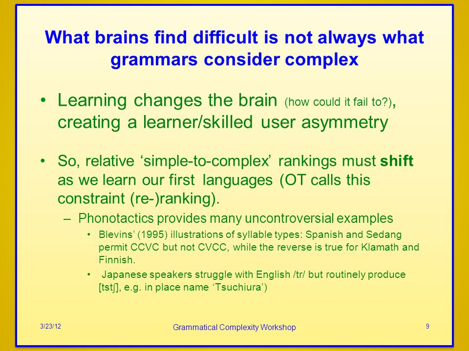 Grammatical Complexity Workshop