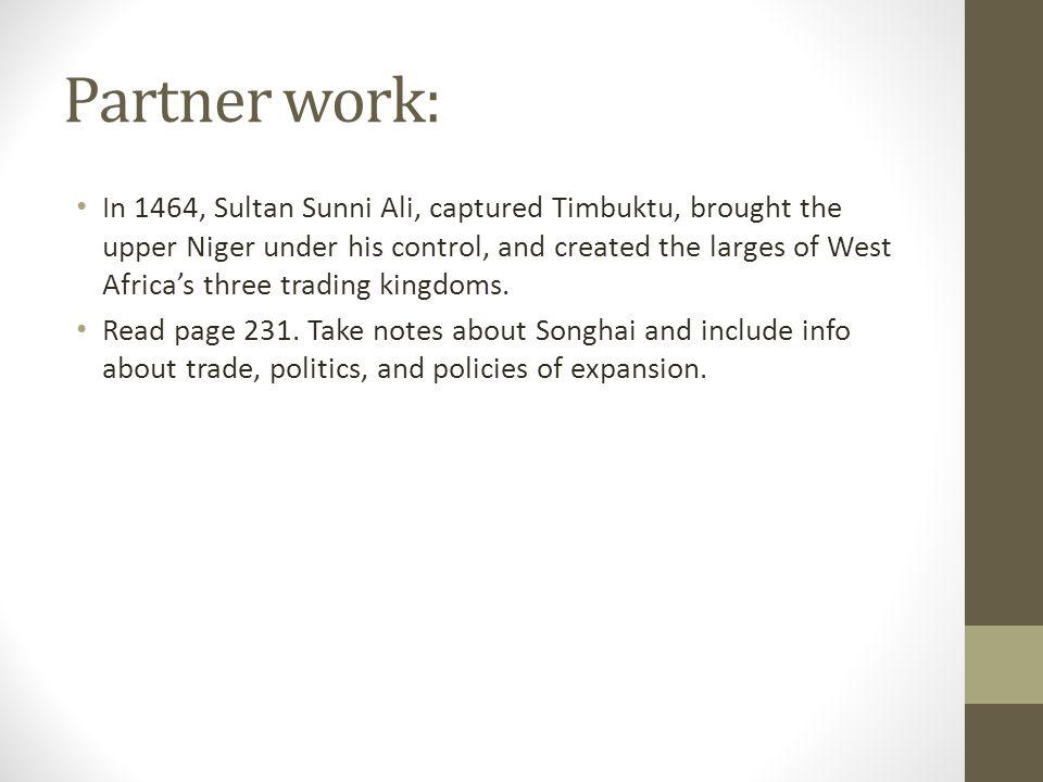 Partner work: