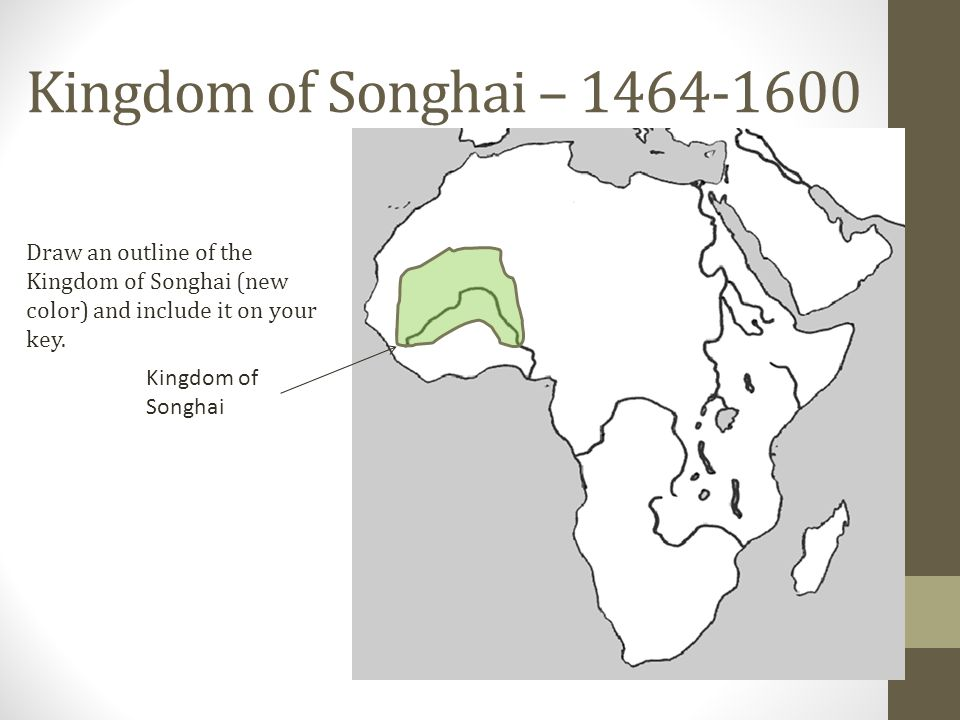 Kingdom of Songhai – Draw an outline of the Kingdom of Songhai (new color) and include it on your key.