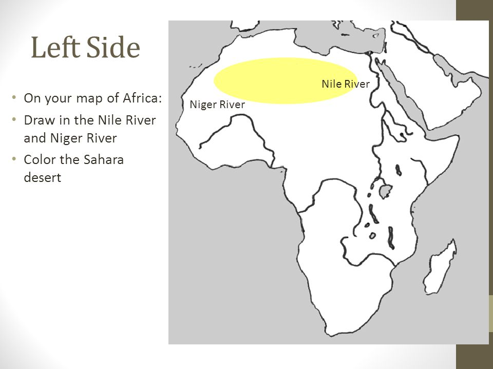 Left Side On your map of Africa:
