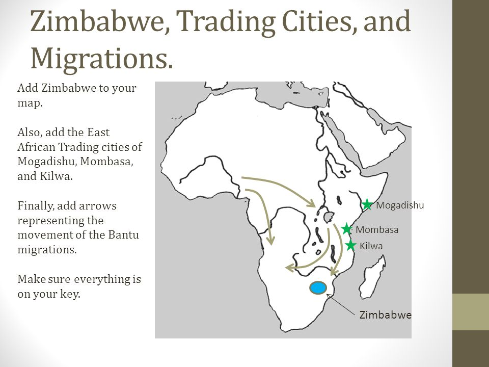 Zimbabwe, Trading Cities, and Migrations.