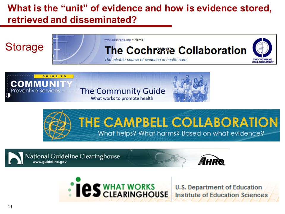 What is the unit of evidence and how is evidence stored, retrieved and disseminated