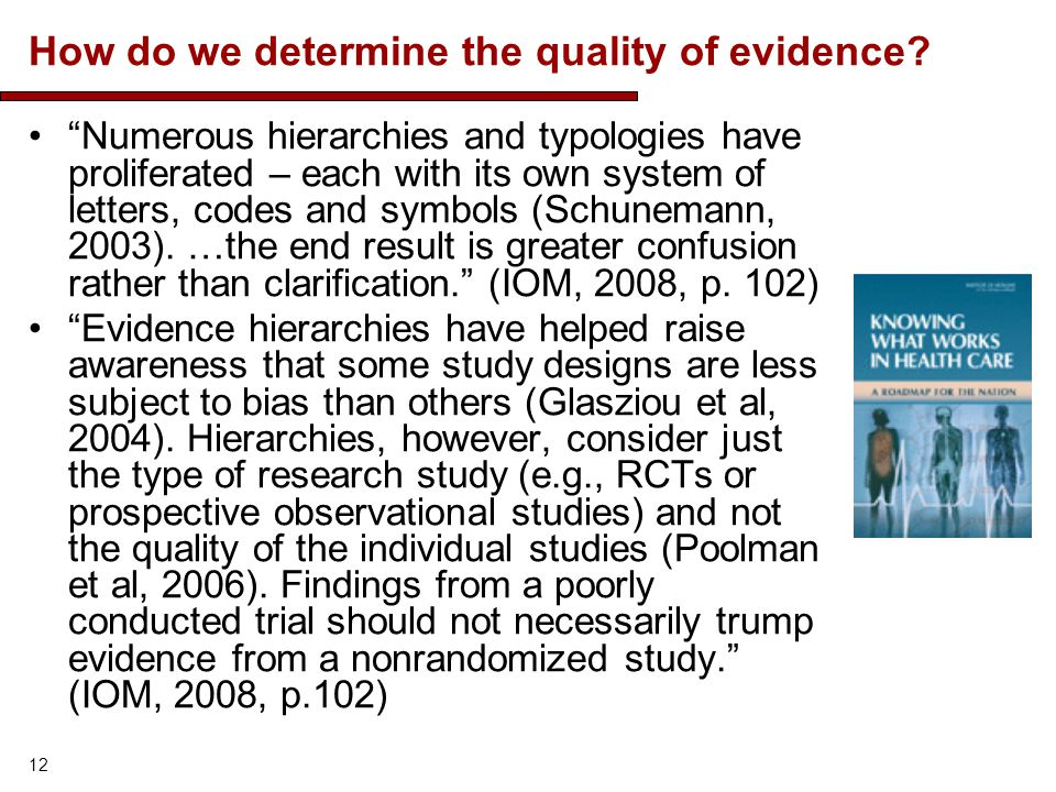 How do we determine the quality of evidence