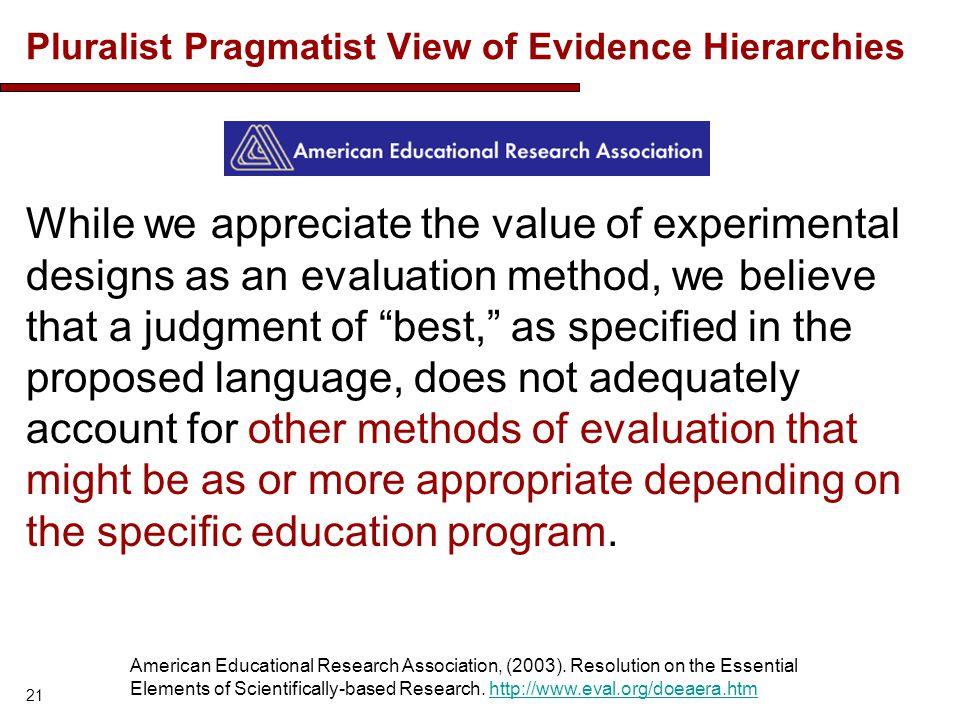 Pluralist Pragmatist View of Evidence Hierarchies