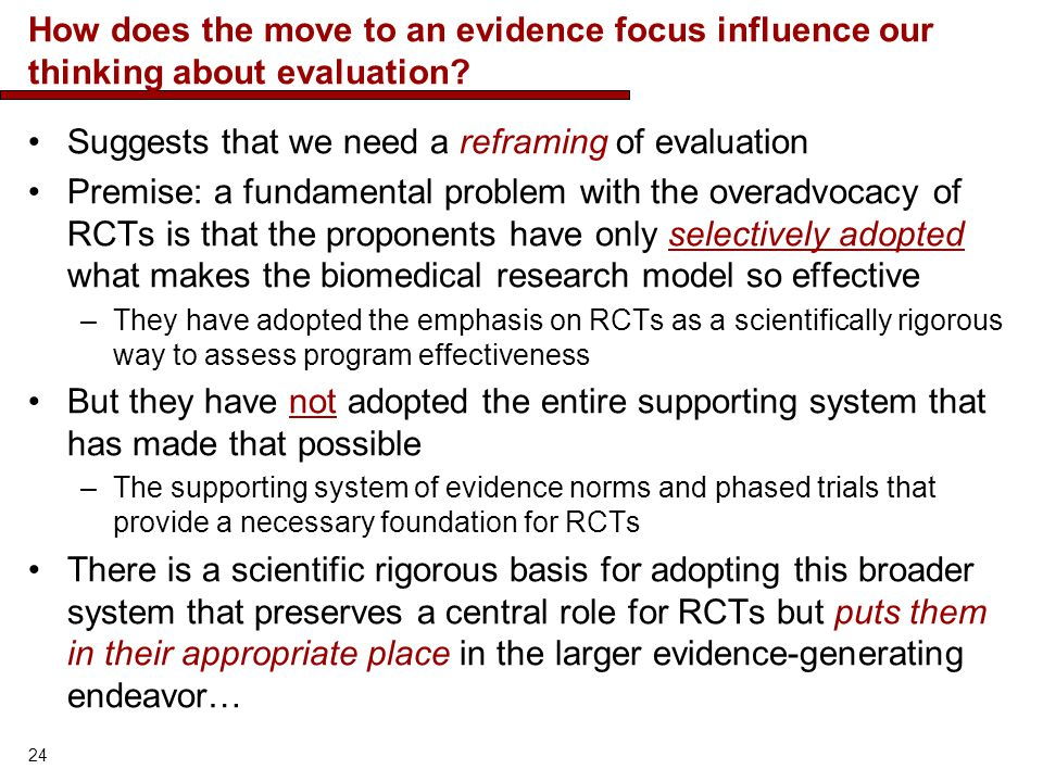 Suggests that we need a reframing of evaluation