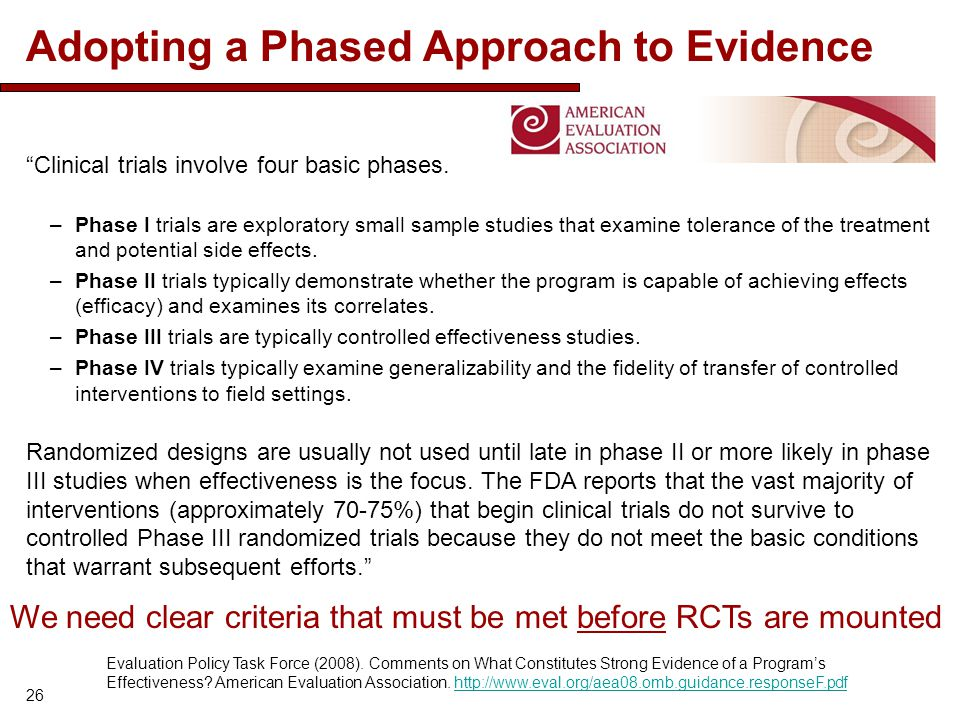 Adopting a Phased Approach to Evidence