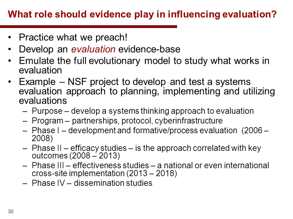 What role should evidence play in influencing evaluation