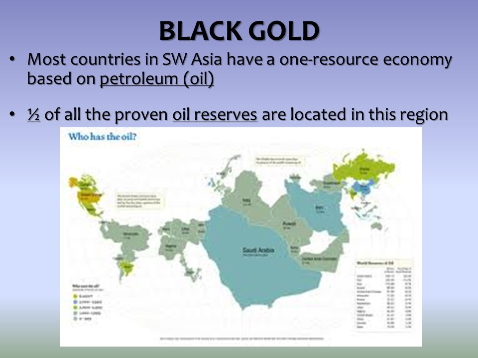 BLACK GOLD Most countries in SW Asia have a one-resource economy based on petroleum (oil)