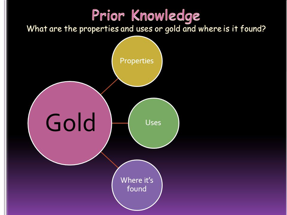 Prior Knowledge What are the properties and uses or gold and where is it found