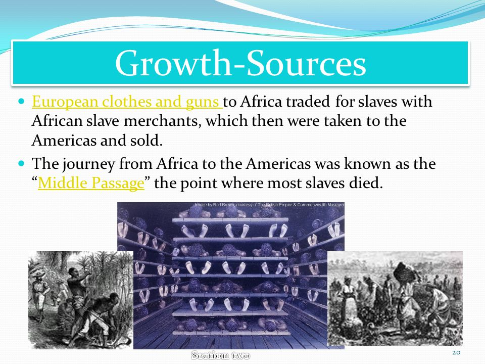 Growth-Sources European clothes and guns to Africa traded for slaves with African slave merchants, which then were taken to the Americas and sold.