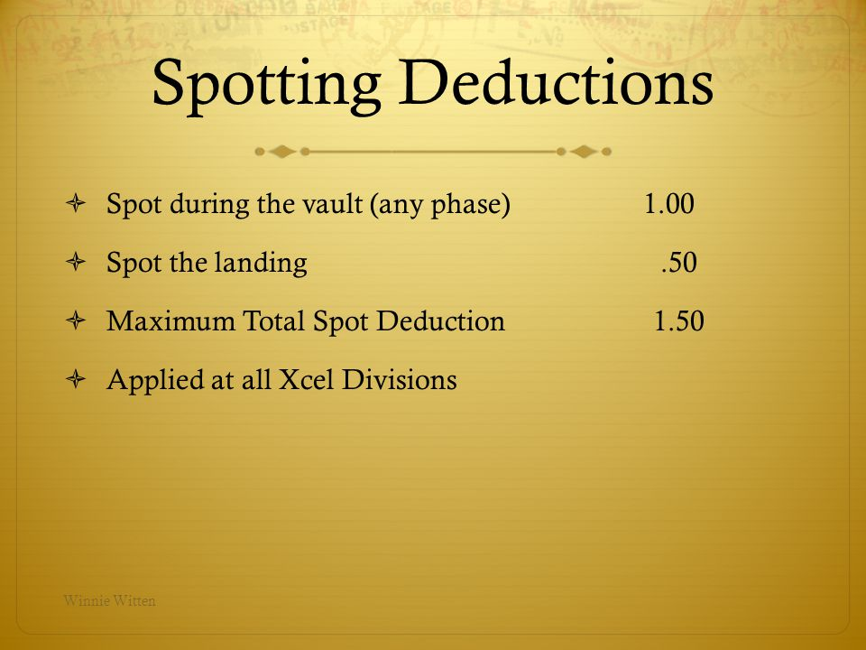 Spotting Deductions Spot during the vault (any phase) 1.00