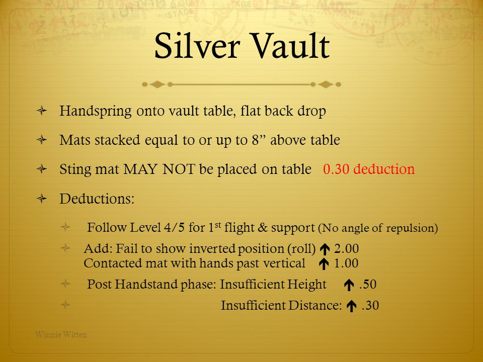 Silver Vault Handspring onto vault table, flat back drop