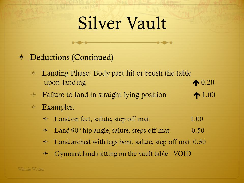 Silver Vault Deductions (Continued)