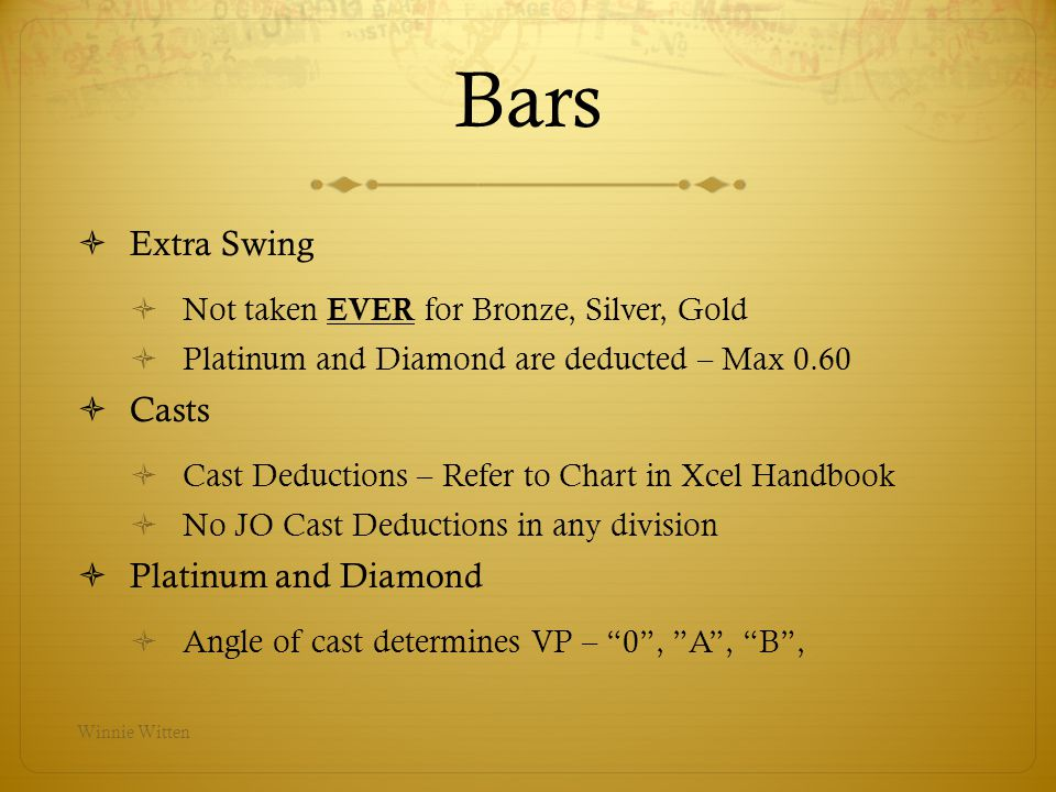 Bars Extra Swing Casts Platinum and Diamond