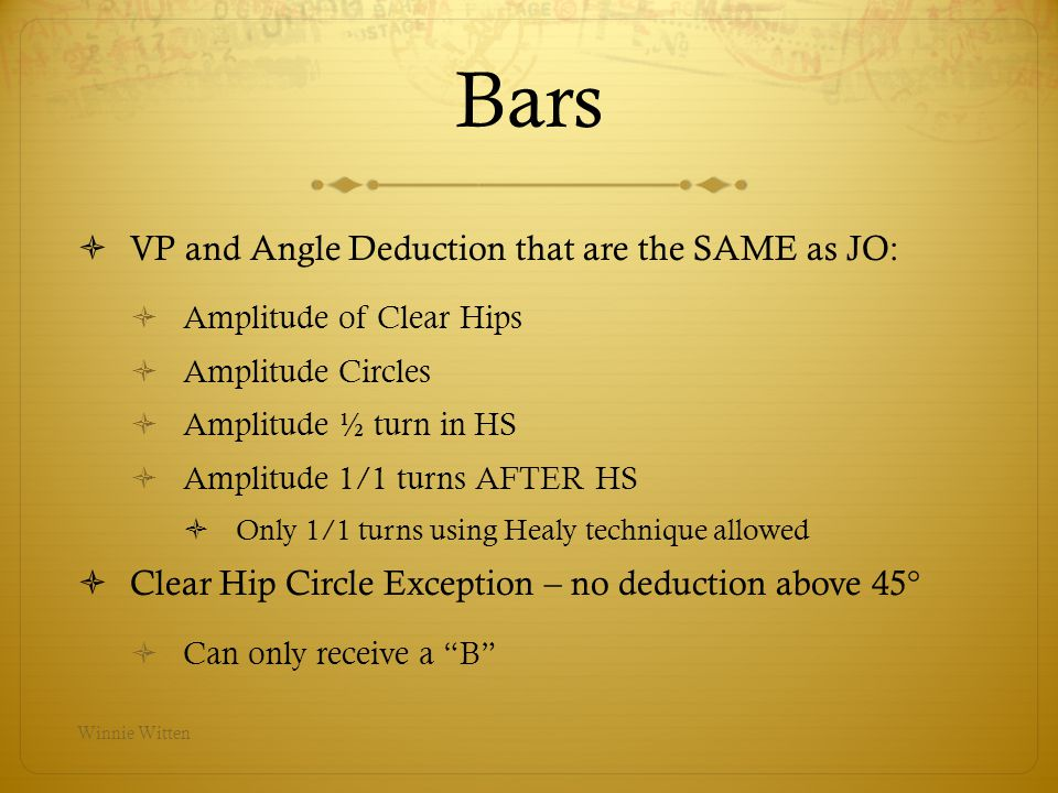Bars VP and Angle Deduction that are the SAME as JO: