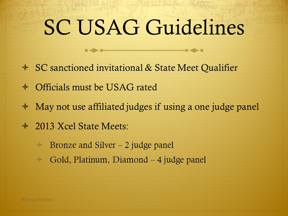 SC USAG Guidelines SC sanctioned invitational & State Meet Qualifier