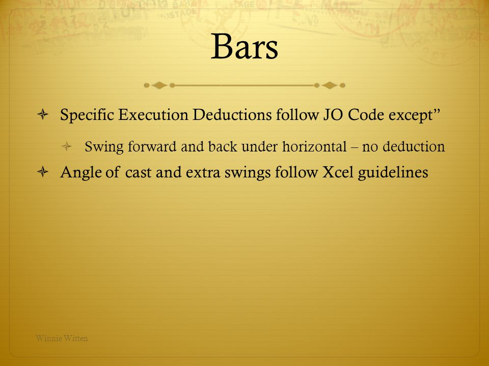 Bars Specific Execution Deductions follow JO Code except