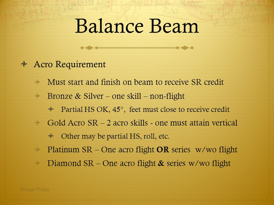 Balance Beam Acro Requirement