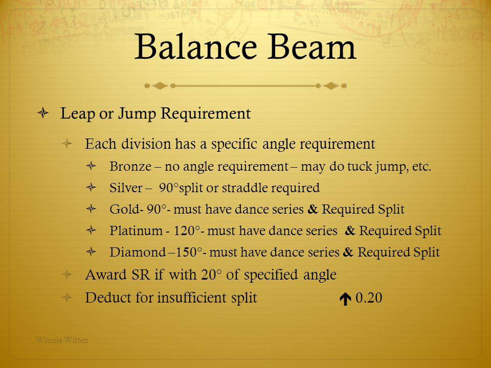 Balance Beam Leap or Jump Requirement