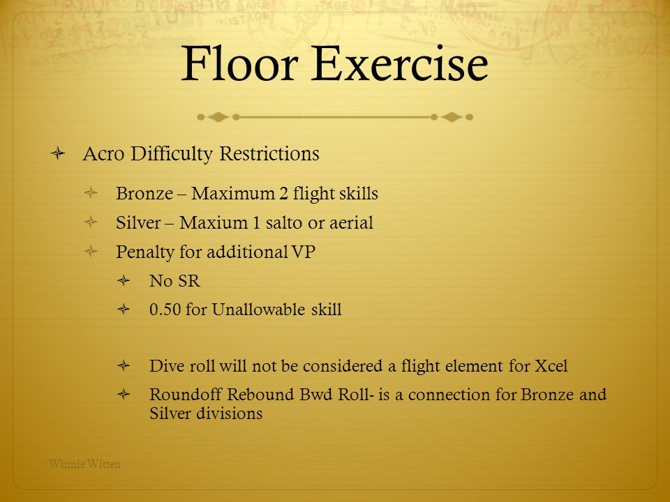 Floor Exercise Acro Difficulty Restrictions
