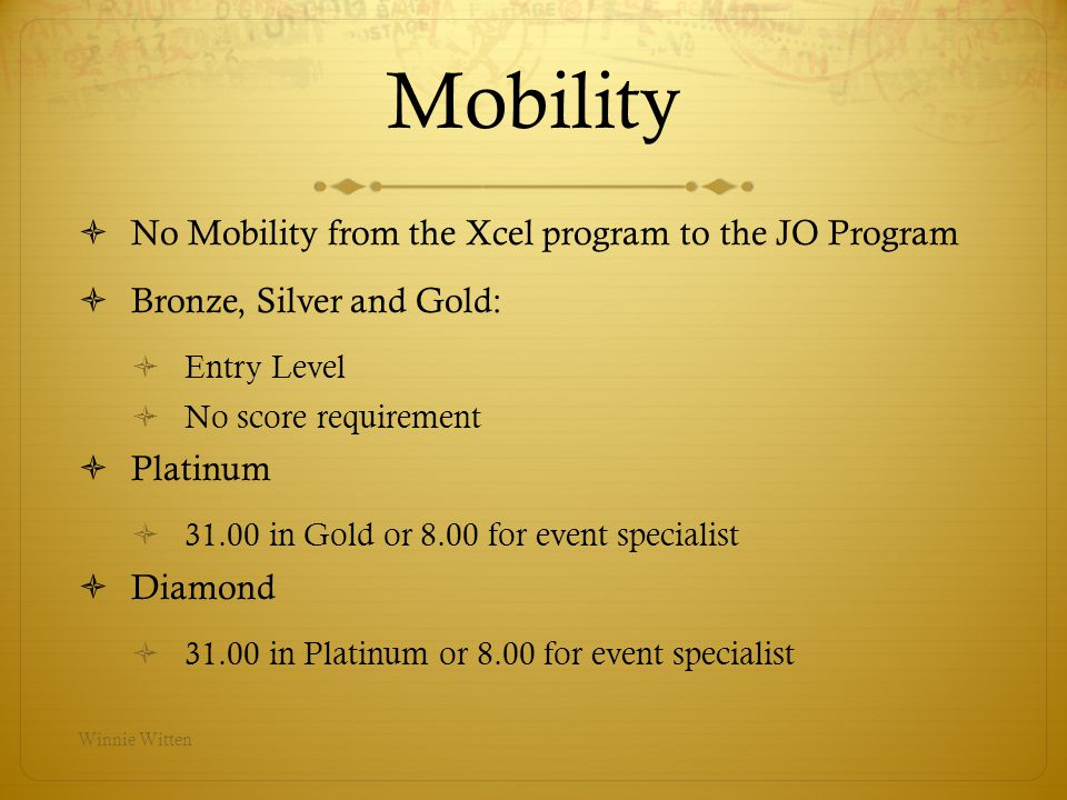 Mobility No Mobility from the Xcel program to the JO Program