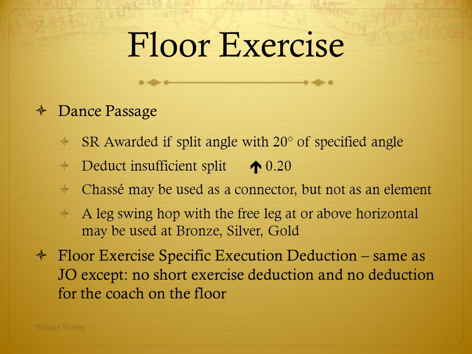 Floor Exercise Dance Passage