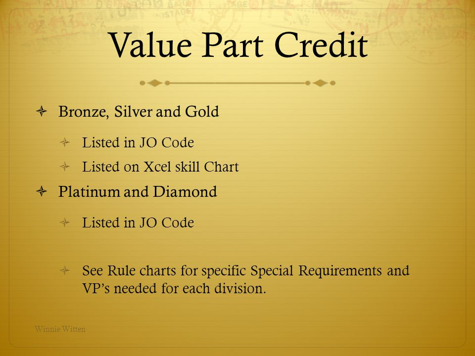 Value Part Credit Bronze, Silver and Gold Platinum and Diamond