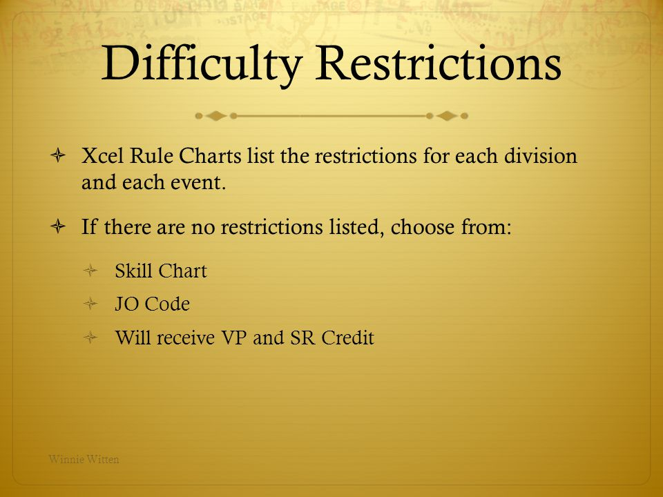 Difficulty Restrictions
