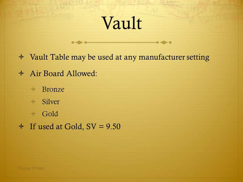 Vault Vault Table may be used at any manufacturer setting