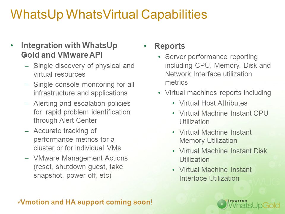 WhatsUp WhatsVirtual : Virtual Server Management