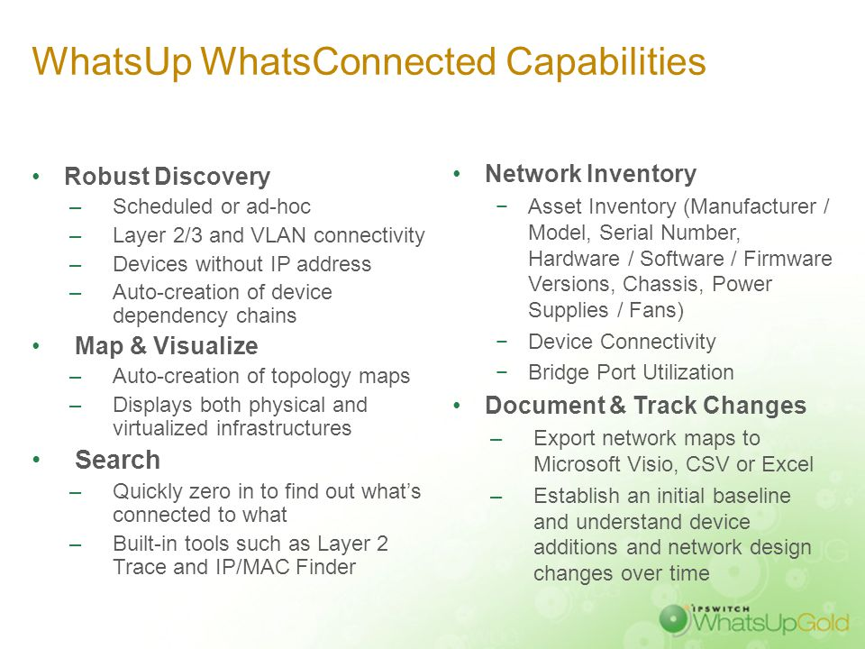 WhatsUp WhatsConnected: Full Layer 2/3 Network Discovery & Mapping