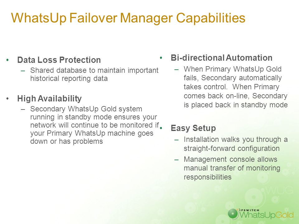 WhatsUp Gold Failover Manager