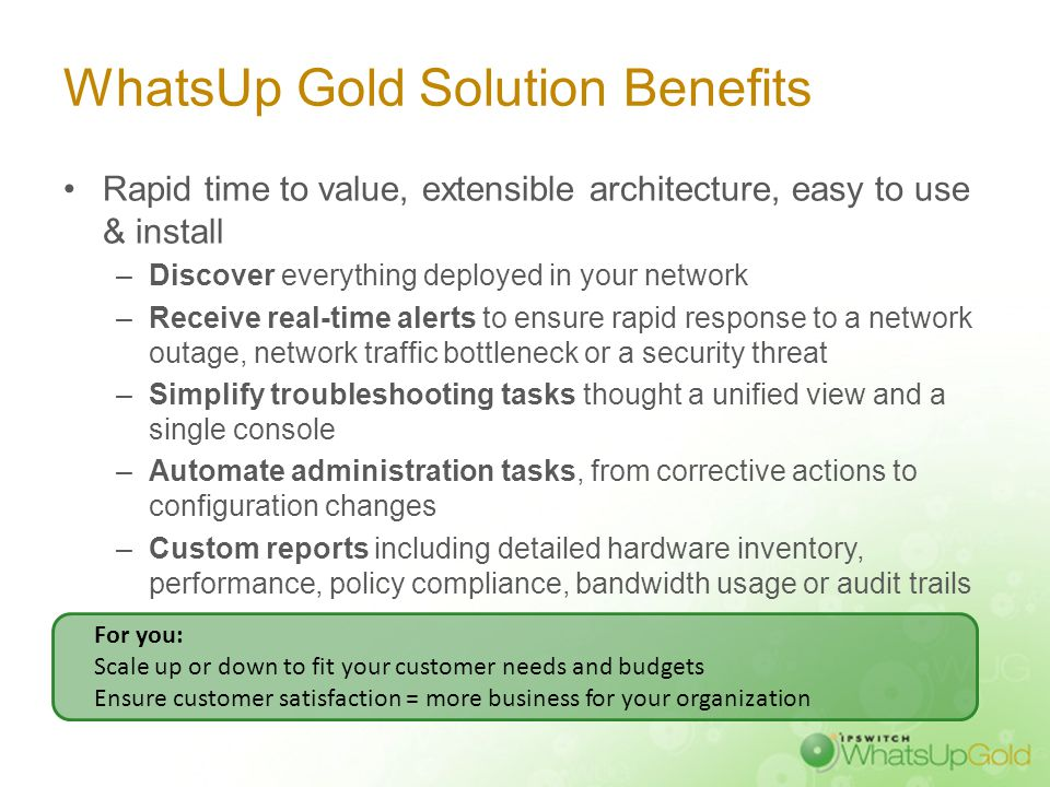 WhatsUp Gold v14 Summary And our Plug-ins: Flow Monitor, WhatsVirtual, WhatsConfigured… Web & Mobile Interface.