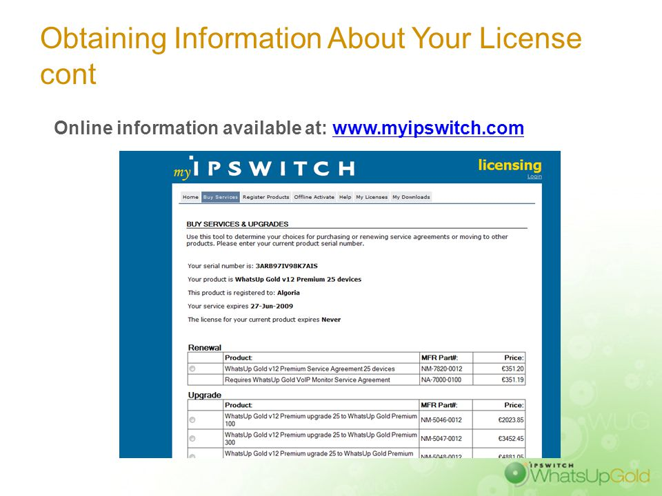 Obtaining Information About Your License