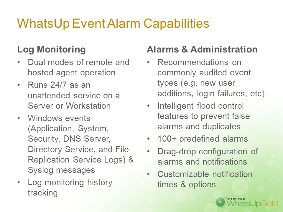 Event-Based Monitoring with WhatsUp Event Alarm