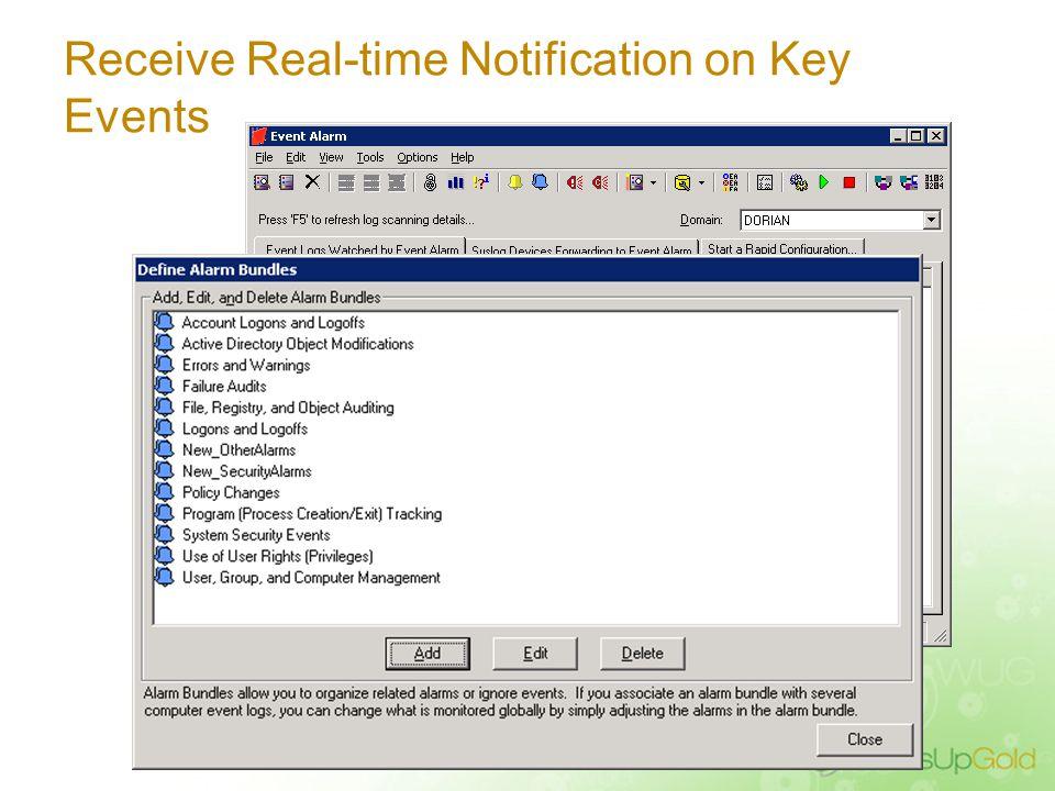 WhatsUp Event Alarm Capabilities