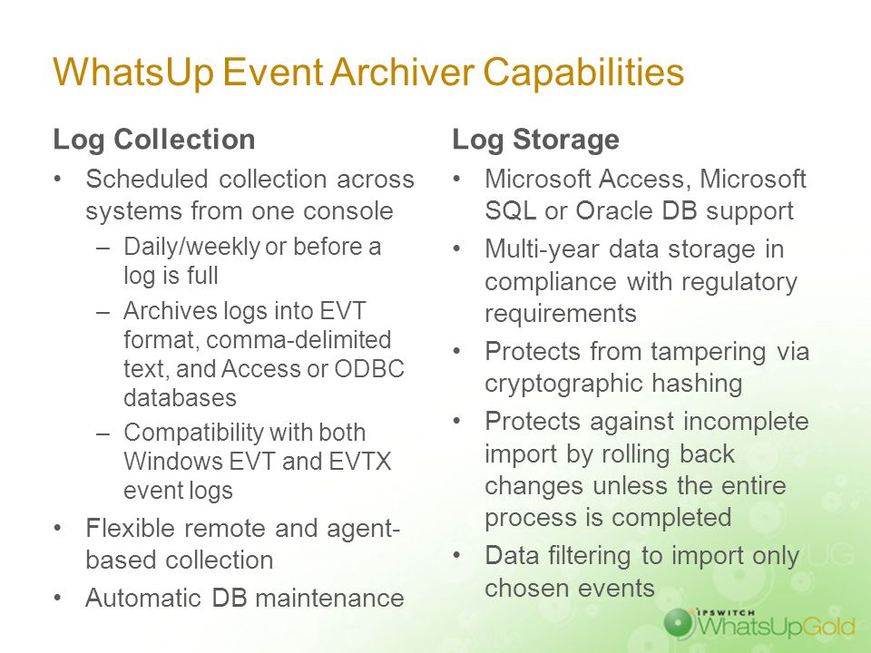 Automate Log Collection & Archiving with WhatsUp Event Archiver