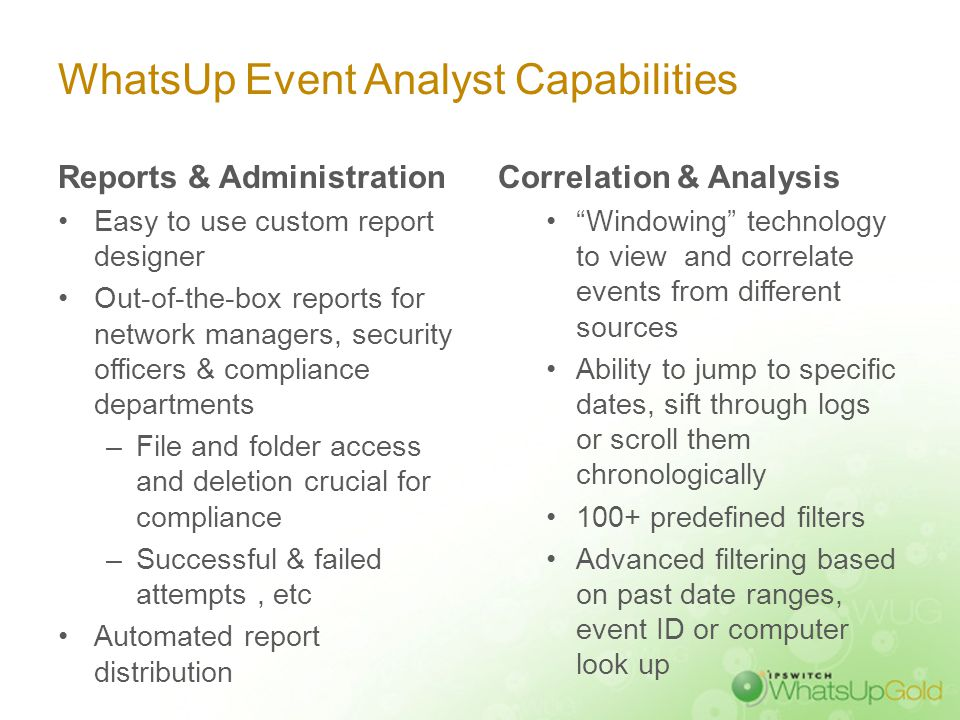 Analyze & Report with WhatsUp Event Analyst