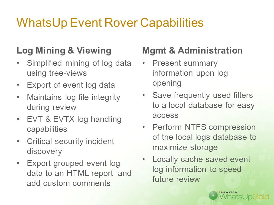 Mine Log Data with WhatsUp Event Rover
