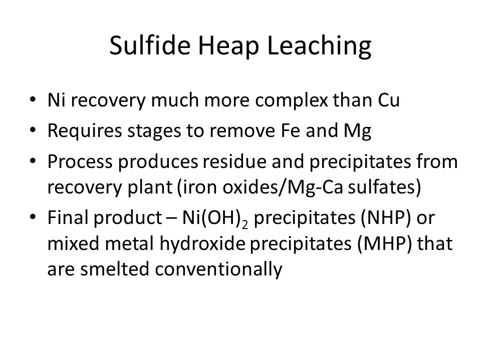 Sulfide Heap Leaching Ni recovery much more complex than Cu