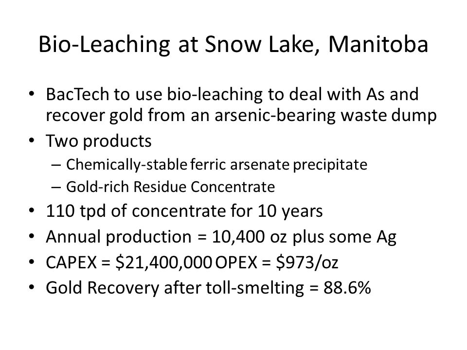 Bio-Leaching at Snow Lake, Manitoba