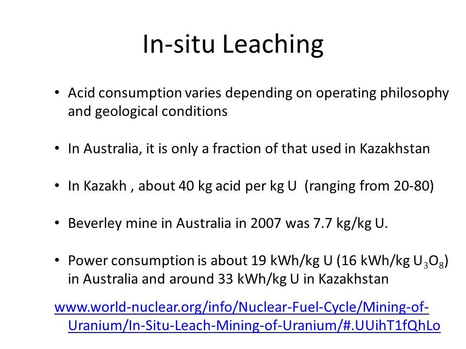 In-situ Leaching Acid consumption varies depending on operating philosophy and geological conditions.