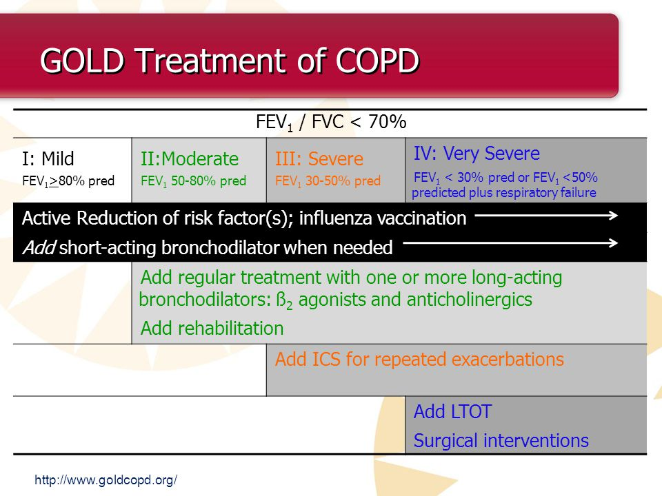 GOLD Treatment of COPD FEV1 / FVC < 70% I: Mild II:Moderate