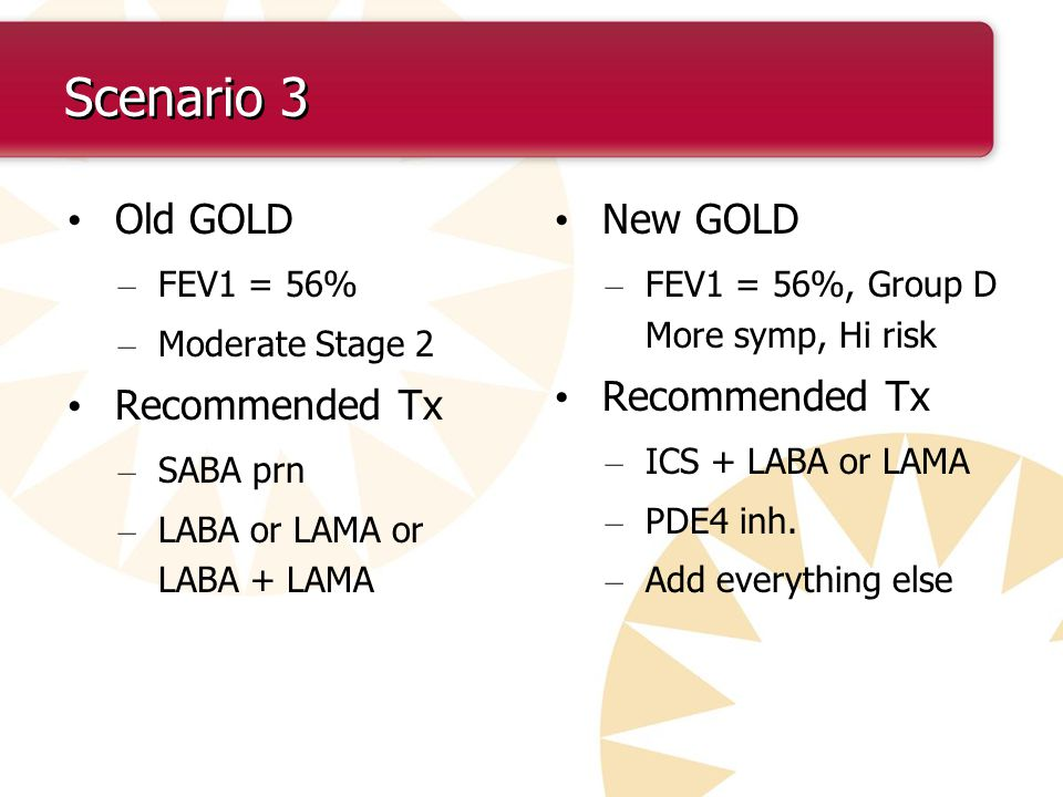 Scenario 3 Old GOLD Recommended Tx New GOLD Recommended Tx FEV1 = 56%